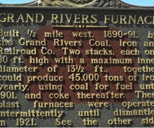 Livingston County Historic Marker Grand Rivers Iron Furnace